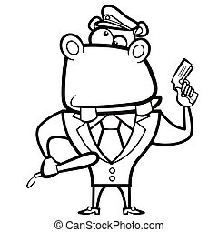 cartoon hippo police officer with gun
