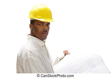 young African American engineer studying house plans