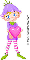 elf_heart - Cute elf with bluebell hat giving heart