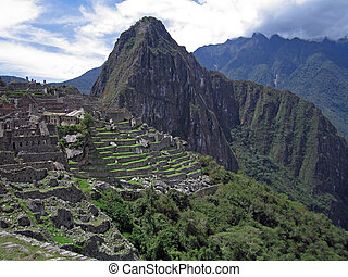 Inca terracing with stone in Machu Picchu, Peru