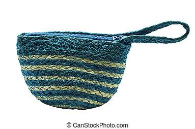 azul, bolsa, cestería