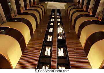 Elevators in atrium of hotelconvention center