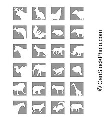 mammals icon - vector gray icons of wild mammals on a white...