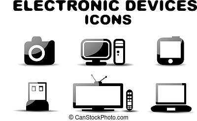 Black glossy electronic devices icon set