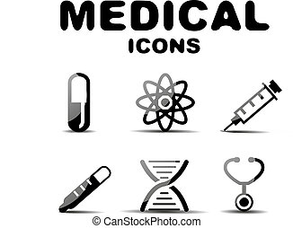 Black glossy medical icon set - Black glossy medical vector...