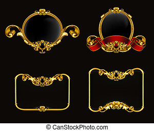 Vintage emblem set on black, 10eps