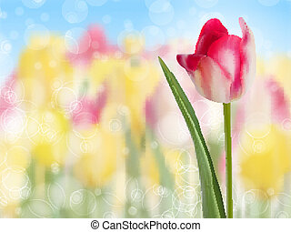 Pink tulip create with a selective focus. EPS 10 - Pink...