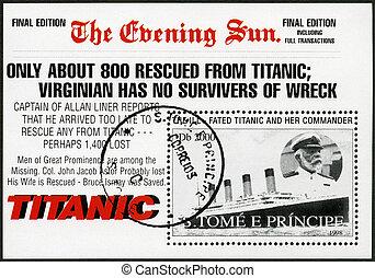ST. THOMAS AND PRINCE ISLANDS - CIRCA 1998: A stamp printed in St.Thomas and Prince Islands shows Captain Edward John Smith and Titanic, circa 1998