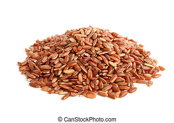 Red rice on a white background