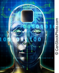 Brain processor - Human head with a microprocessor as brain...