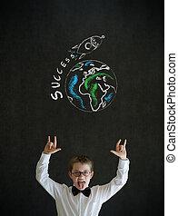 Knowledge rocks boy business man with chalk globe and jet...