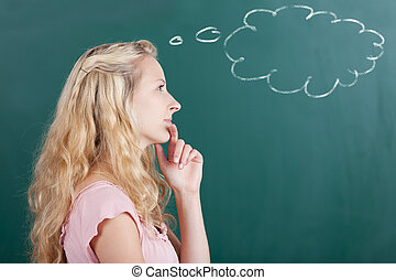 Professor Looking Away With Thought Bubble On Chalkboard -...