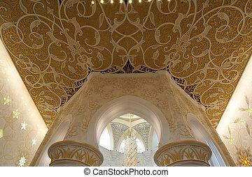 Abu, Dhabi, jeque, Zayed, blanco, mezquita, Uae