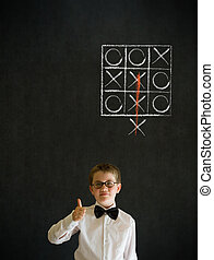 Thumbs up boy business man with thinking out of the box tic...