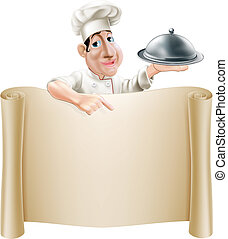 Cartoon Chef Pointing at Menu - A happy cartoon cook holding...