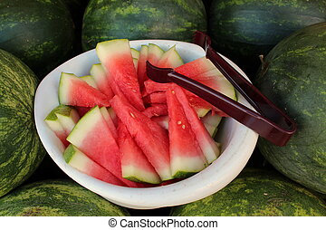 Fresh cut watermelon wedges - Fresh cut juicy watermelon...