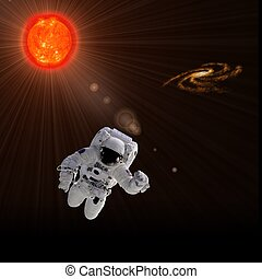 Astronaut And Sun - Flying astronaut on a background with...