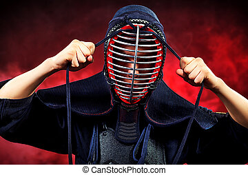 equipment - Close-up portrait of kendo fighter Asian martial...
