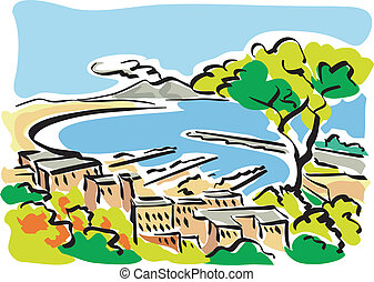 Naples Gulf of Naples - Illustration of the Gulf of Naples