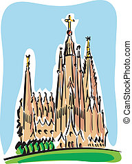 Barcelona (the Sagrada Familia) - Illustration of the...