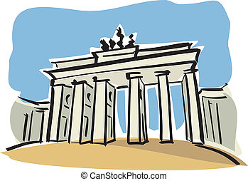 Berlin (Brandenburg Gate) - illustration of the Brandenburg...