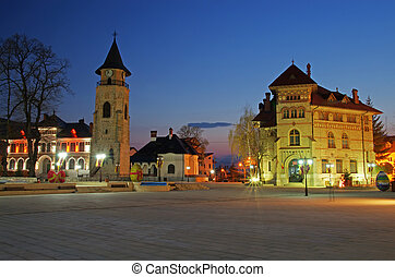 Piatra Neamt - City square in Piatra Neamt: Royal Court with...