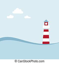 Lighthouse on the sea fairy shore. Vector illustration.