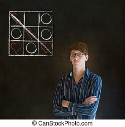 Businessman, student or teacher tic tac toe love valentine...