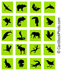 animal silhouette green icons - vector silhouette of the...