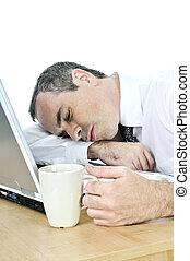seu, adormecido, fundo, escrivaninha, homem negócios, branca