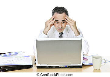 Businessman at his desk on white background - Stressed...