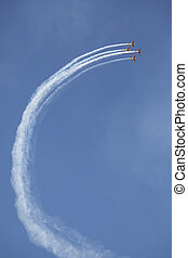 airplane smoke sensation - airplanes in formation taking a...