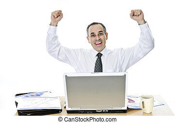 Businessman at his desk on white background - Happy...