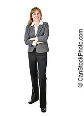 Businesswoman on white background - Happy smiling...