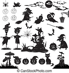 Halloween cartoon, set black silhouette - Halloween holiday...