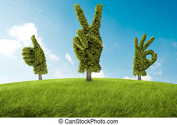 Positive tree - Trees in the shape of hand that ago a...