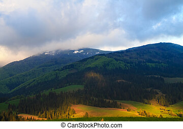 Cloudy landscape in the Carpathian mountains