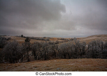 Approaching storm - Winter storm blowing in across a ridge...