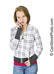 Teenage girl talking on phone - Teenage girl talking on a...