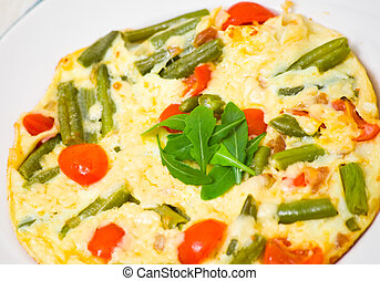 omelette with green beans and cherry tomatoes
