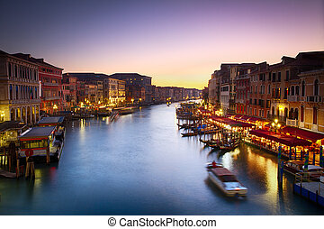 Canale Grande at dusk with vibrant sky, Venice, Italy