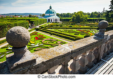 Flower garden of Castle in Kromeriz, Czech Republic UNESCO...