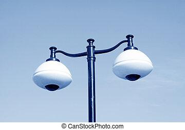 street lights on the blue sky, closeup photo