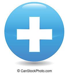 Diagnostics button - Blue diagnostics button on a white...