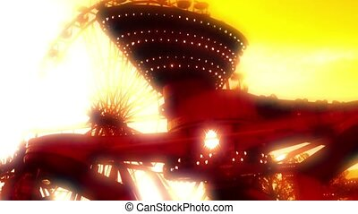 silhouette of a roller coaster at sunset - silhouette of a...