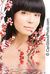 ashberry woman - portrait of lovely woman with red ashberry...