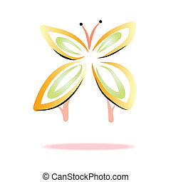 butterfly icon on white backgroun for design