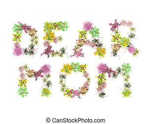 DEAR MOM - Words DEAR MOM spelled out with flowers, isolated...