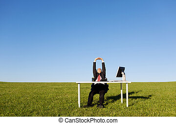 Businessman Stretching On Grassy Field - Businessman...