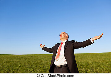 Mature businessman with arms outstretched standing in field against clear sky